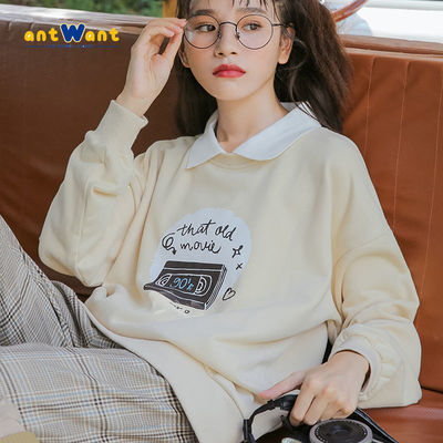 ANTWANT长袖卫衣女假两件T恤ins女2021新款盐系洋气宽松显瘦韩版