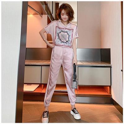 欧洲站运动套装女潮牌时尚夏季韩版洋气减龄气质显瘦休闲裤两件套