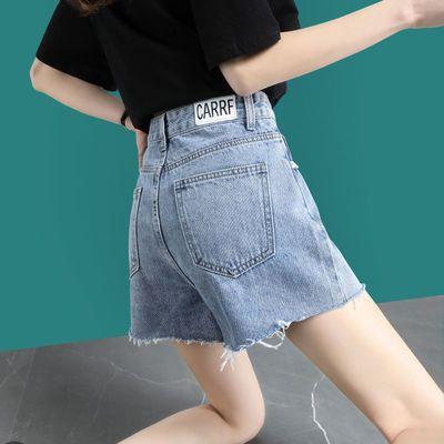 22350/高腰牛仔短裤女宽松2021夏季新款韩版阔腿显瘦毛边百搭a字热裤潮