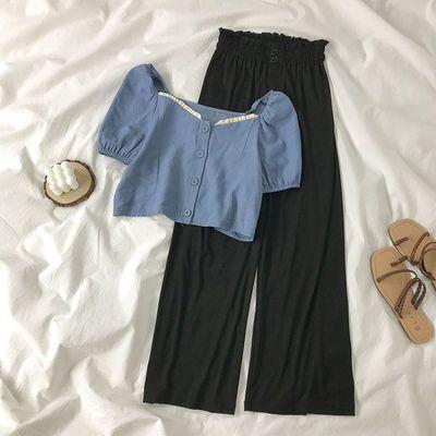 56647/时尚洋气冰丝阔腿裤夏季新款套装方领短袖上衣小个子显高两件套女