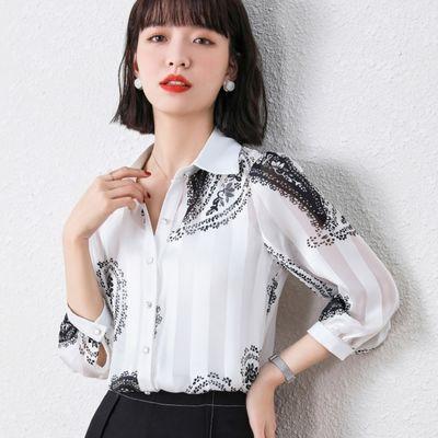7422/雪纺衬衫上衣女夏装2021年新款七分袖衬衣时尚印花洋气小衫