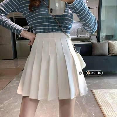 29626/白色百褶半身裙女夏2021新款短裙JK高腰黑色显瘦a字灰色裙子春秋
