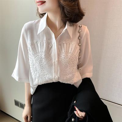 19123/白衬衣女2021春季新款韩版宽松显瘦气质中袖蕾丝刺绣衬衫女