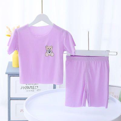 儿童夏季短袖套装家居服面膜T恤男女童薄款韩版洋气糖果色空调服