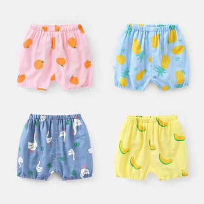咔咔熊猫婴儿纯棉纱布短裤大PP裤夏装男童6个月儿童女小童1岁
