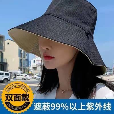 14451/【送防风绳】大帽檐双面女士渔夫帽春夏潮网红遮脸防紫外线帽子