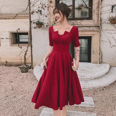 60378/酒红色敬酒服孕妇2021新款新娘回门订婚礼服女平时可穿连衣裙夏季