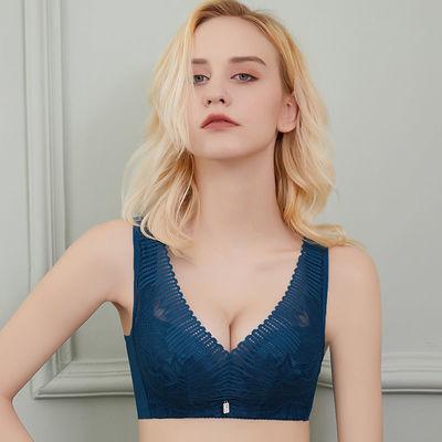 女士薄款性感美背无钢圈大胸显小聚拢收副乳防下垂胸罩调整型文胸