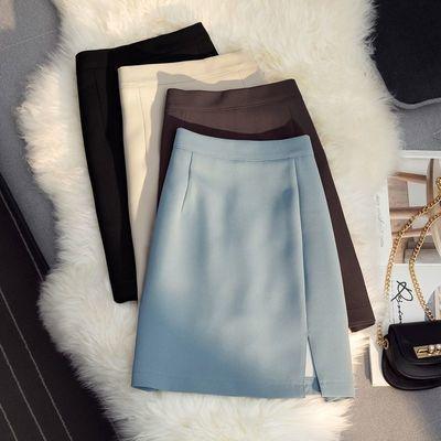 2021春夏新款高腰显瘦开叉半身裙A字包臀防走光百搭气质短裙裙子