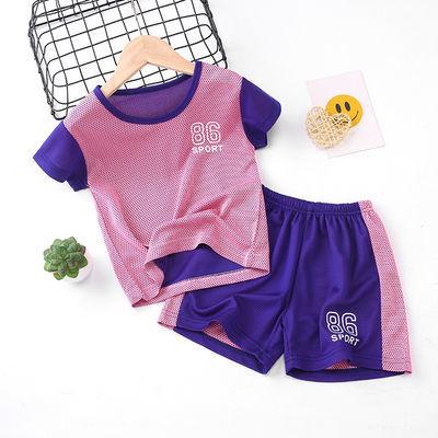 男童运动套装夏装男女童蓝球服网眼透气小孩训练服短袖套装两件套