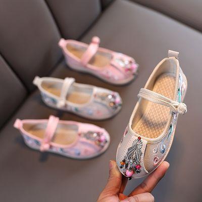 74835/汉服女童绣花鞋刺绣鞋中国宝宝布棉鞋公主鞋民族风单鞋老北京布鞋