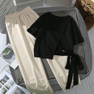 40070/夏季套装女小个子学生韩版不规则绑带短袖t恤+高腰阔腿裤网红套装
