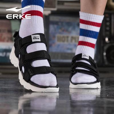 鴻星爾克女鞋2021新品透氣戶外沙灘鞋休閑鞋運動魔術貼涼鞋女