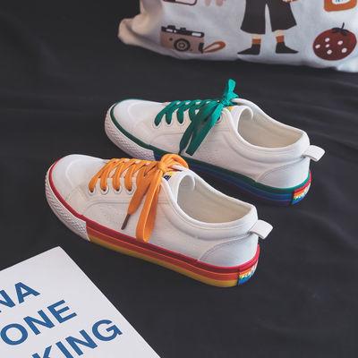 72854/帆布鞋女新款百搭 鞋子网红女学生帆布鞋女士夏季韩版涂鸦一脚蹬