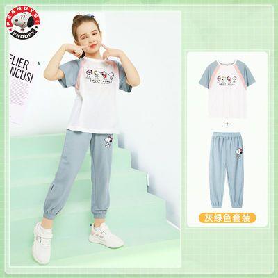 40184/史努比女童夏季套装2021年新款夏装儿童短袖运动服洋气时髦大童装