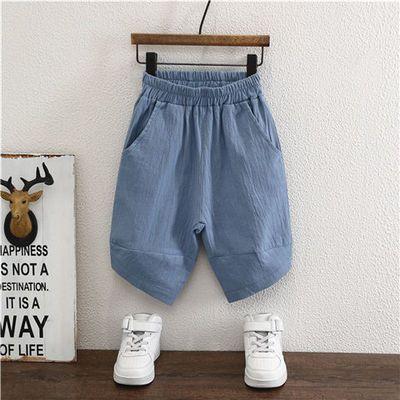 儿童夏季棉麻七分裤男童韩版宽松休闲哈伦裤小童女孩洋气童装短裤