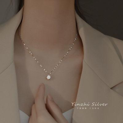 76428/925银单钻项链女网红韩版简约设计感锁骨链小众ins风毛衣轻奢新款