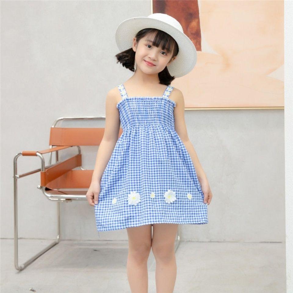 女童连衣裙夏装潮小雏菊童装儿童格子吊带裙子小女宝宝洋气公主裙