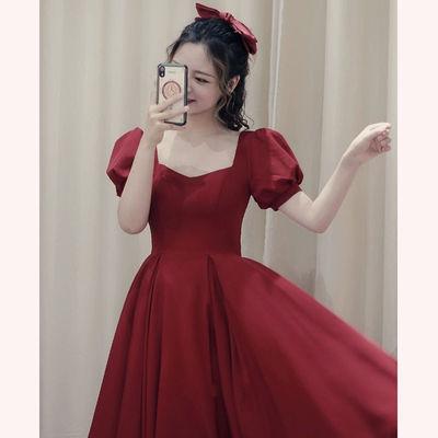 29910/敬酒服新娘2021新款春夏酒红色结婚晚礼服女回门长款显瘦平时可穿