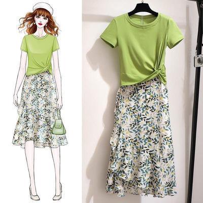 33944/2021新款潮夏季半身裙两件套/单 女洋气时尚裙子套装裙碎花绿叶裙