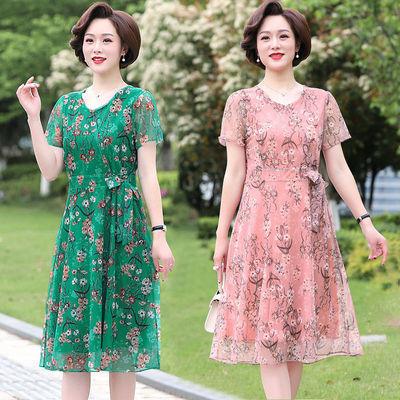 40187/中老年妈妈装夏季女装2021新款洋气大码雪纺连衣裙气质宽松裙子潮