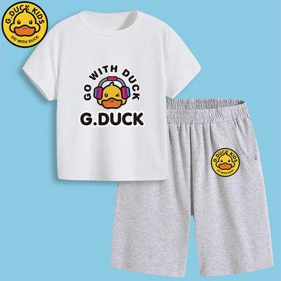 正品小黄鸭儿童运动套装男童短袖T恤五分裤两件套中大童休闲童装