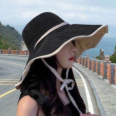 60272/帽子女渔夫帽夏季防晒春夏遮阳帽太阳帽洋气遮脸遮阳圆脸大脸显瘦