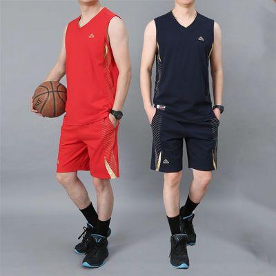 40161/运动套装男定制短裤球衣新疆棉夏装无袖T恤比赛队服一套篮球衣服