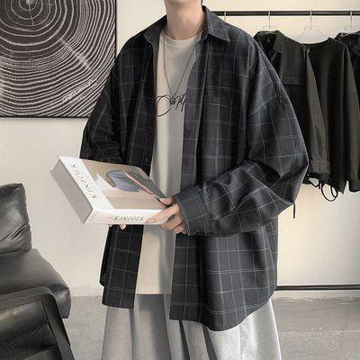 10458/格子衬衫男夏季韩版宽松百搭潮流ins复古衬衣男夏装薄款休闲外套