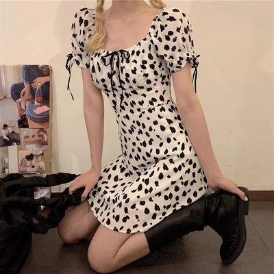 39298/2021复古法式方领泡泡袖连衣裙女夏季新款小个子温柔风桔梗短裙子