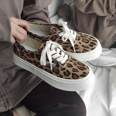 21678/环球小众豹纹厚底帆布鞋女2021年春夏新款百搭板鞋ins街拍潮鞋夏