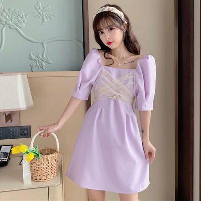 41245/2021年新款夏装时尚法式气质网纱亮片拼接蝴蝶结泡泡袖仙女A字裙