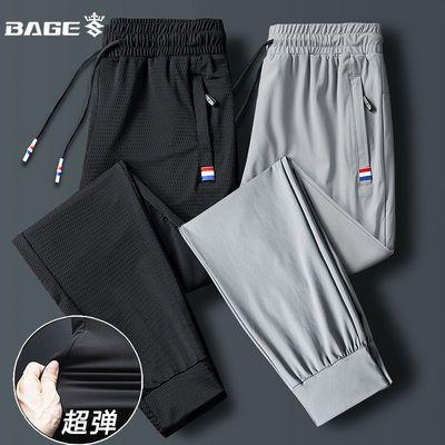 35469/冰丝裤男士夏季超薄款网眼速干运动休闲长裤宽松加肥加大码空调裤