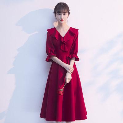 16294/酒红色敬酒服2021新款新娘订婚回门小个子平时可穿宴会晚礼服女
