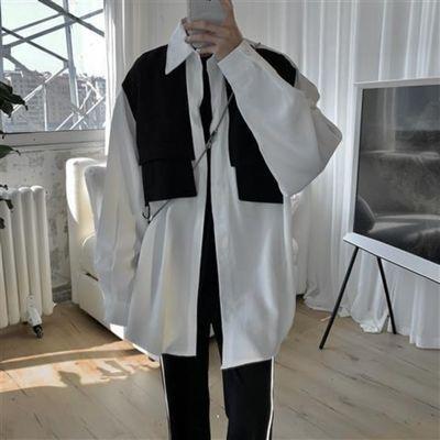 19116/原宿风ins撞色设计感小众长袖衬衫男女日系韩版宽松衬衣休闲上衣