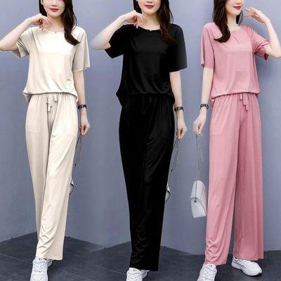 2021新款冰丝睡衣女夏季套装纯色休闲显瘦宽松时尚家居懒人薄款