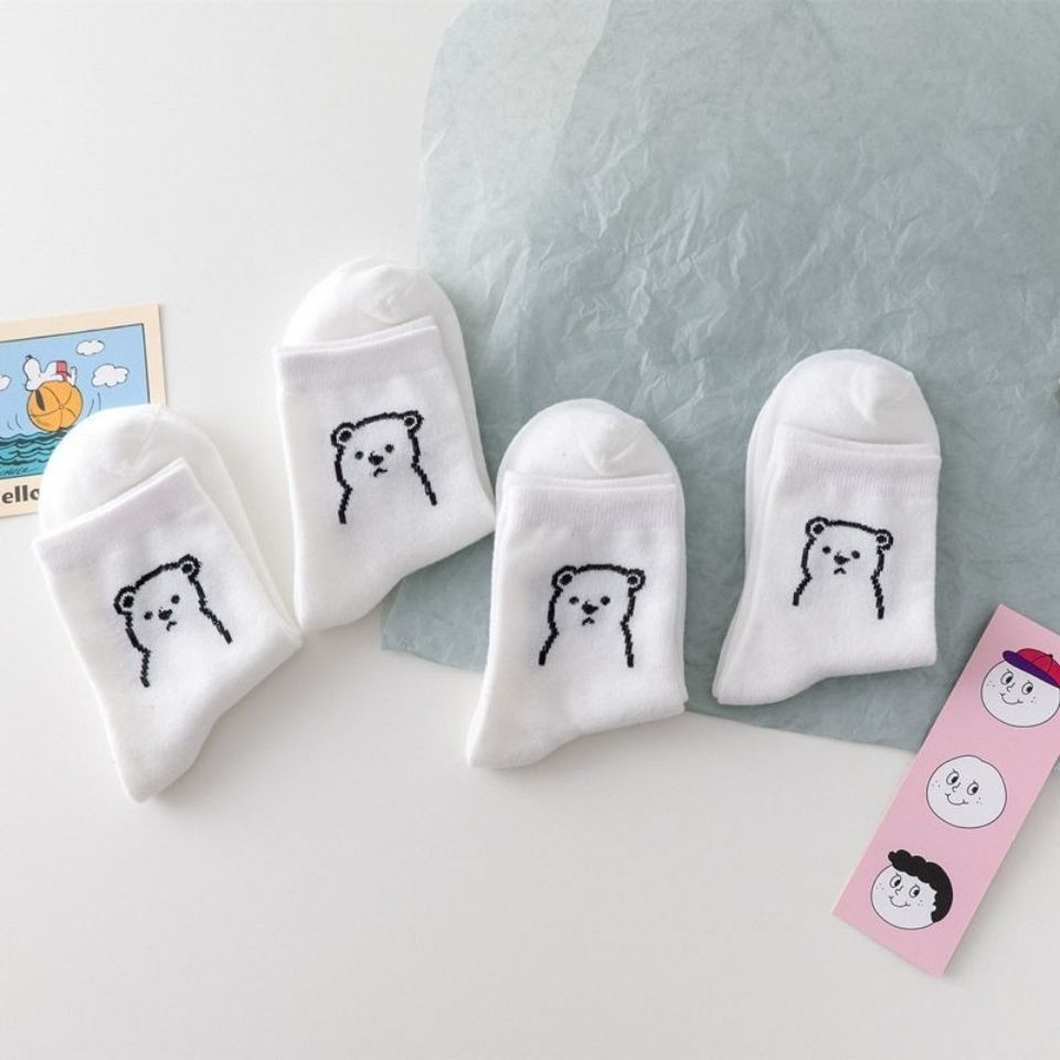 日韩小熊袜子女可爱卡通白色中筒袜夏季学生百搭微笑松口短袜女潮