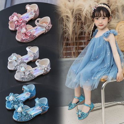 34303/女童冰雪奇缘新款爱莎公主鞋小女孩软底凉鞋儿童艾莎水晶鞋表演鞋