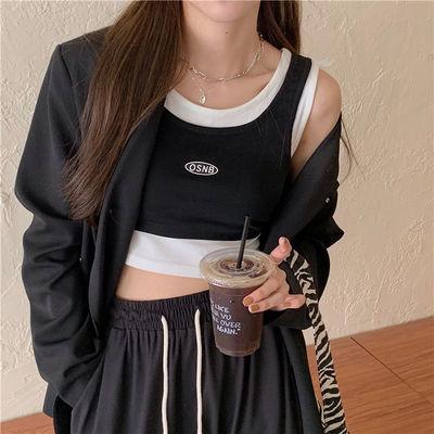 19333/外穿短款露脐背心女2021夏季新款辣妹假两件黑白内搭设计感上衣女