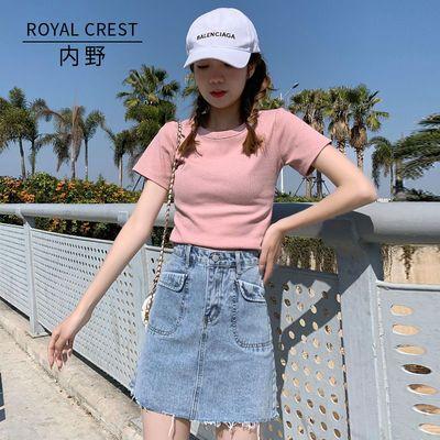 21807/内野牛仔裙高腰a字半身裙女2021新款夏季裙子显瘦短裙学生包臀裙