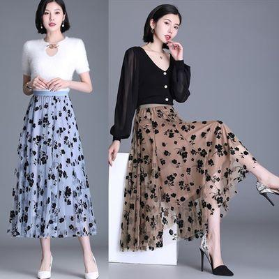23489/重工多层次纱裙女春夏2021新款黑色高腰半身裙刺绣仙女长裙子