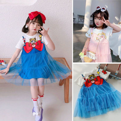 78973/女童裙子新款2021年女童公主裙纯棉短袖连衣裙宝宝网纱美少女战士