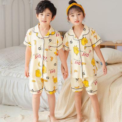 儿童睡衣夏季短袖薄款男童套装小宝宝中大童空调服女童套装家居服
