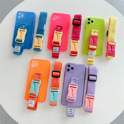16355/苹果华为最新款荧光色斜跨挂绳支架手机壳