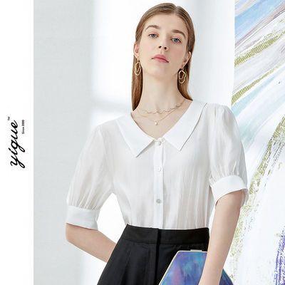 18530/亦谷2021年夏新款短袖白衬衫宽松v领灯笼袖气质复古外穿薄上衣女