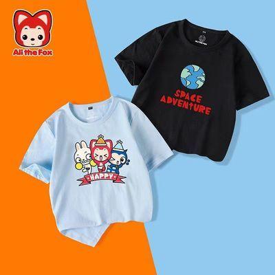阿狸男女童夏装小中大童纯棉短袖T恤卡通宽松白色衣服上衣童装
