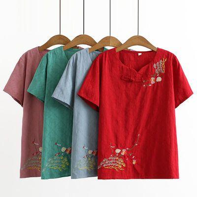 37453/夏季中老年妈妈装宽松刺绣T恤女时尚婆婆装短袖减龄民主风上衣女