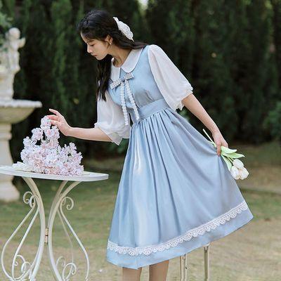 63739/复古文艺森女系娃娃领连衣裙女2021夏季新款宽松中长款蝴蝶结裙子
