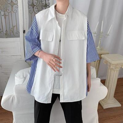 15739/夏季短袖衬衫男生宽松条纹五分袖衬衣男士韩版潮流百搭中袖上衣服