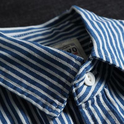 64964/重磅 美式复古阿美咔叽衬衣 日系纯棉双口袋蓝白竖条纹工装衬衫男